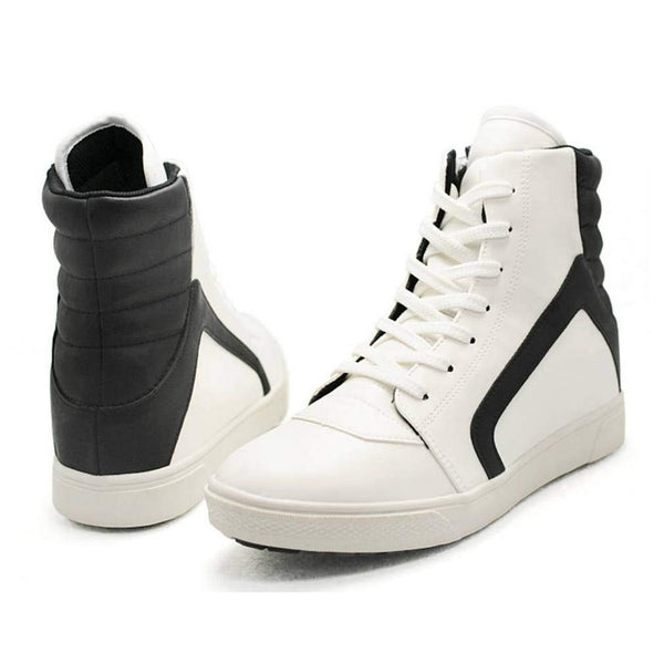 EpicStep Men's White Leather High Top Round Toe Lace Up Fashion Sneakers Shoes 8 M US