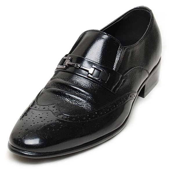EpicStep Men's Dress Formal Business Casual Genuine Leather Wingtip Buckle Slip On Loafers Oxfords Shoes