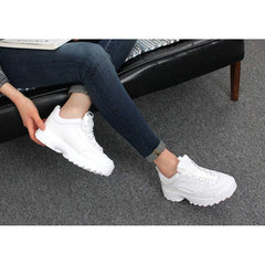 EpicStep Women's Retro Chunky Thick Sole Lace Up Dad Trainers Sneakers Wedge Shoes