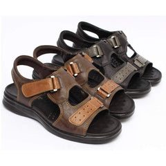 EpicStep Men's Casual Simple Comfort Cushioned Leather Open Toe Strap Sandals Slippers Shoes