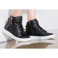EpicStep Women's Casual High Tops Zip Lace Up Hidden Wedges Shoes Fashion Sneakers