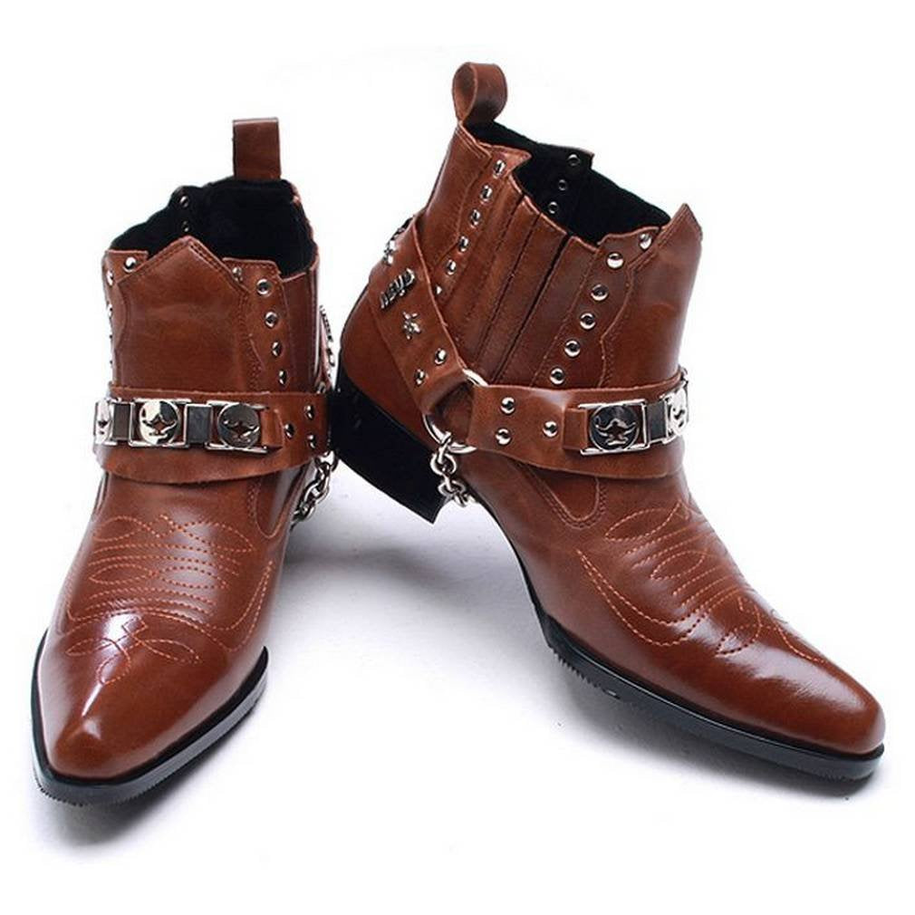 EpicStep Men's Leather Shoes Riding Biking Motorcycle Studded Chain Western Ankle Boots
