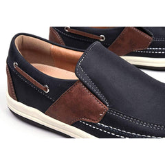 EpicStep Men's Leather Slip On Penny Loafers Boat Shoes