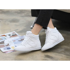 EpicStep Women's Casual High Tops High Heels Hidden Wedges Lace Up Shoes Fashion Sneakers