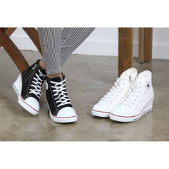 EpicStep Women's Canvas Shoes High Tops Zip Lace Up Fashion Sneakers Platform Wedges