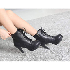 EpicStep Women's Genuine Leather Stiletto High Heel Platform Ankle Boots Booties