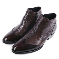 EpicStep Men's Dress Formal Business Stylish Wingtip Genuine Cow Leather Zip Chelsea Ankle Boots Shoes