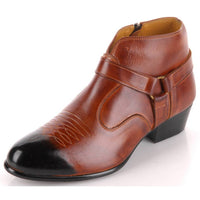 EpicStep Men's Genuine Leather Western Casual Dress Formal Zip Chelsea Ankle Boots Shoes
