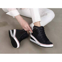 EpicStep Women's High Top Wedges Shoes Belt Buckled Zip Lace up Casual Fashion Sneakers