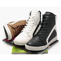 EpicStep Men's White Leather High Top Round Toe Lace Up Fashion Sneakers Shoes 9 M US