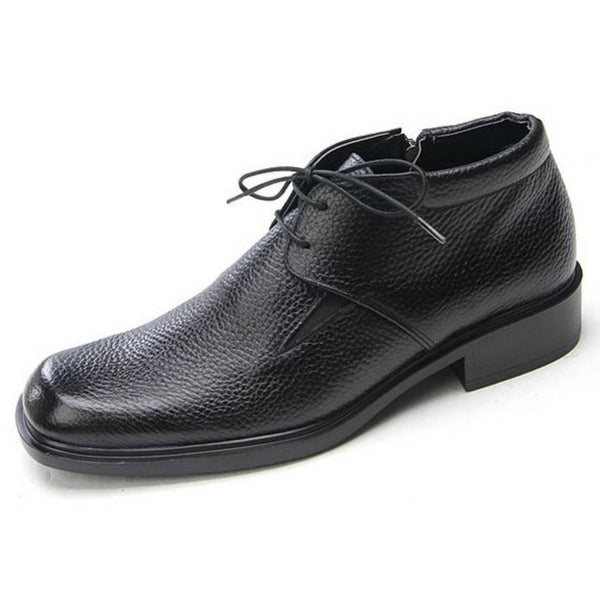 EpicStep Men's Genuine Leather Zip Lace Up Gentle Stylish Formal Dress Shoes Ankle Boots
