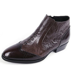 EpicStep Mens Dress Formal Business Stylish Wingtip Genuine Cow Leather Zip Chelsea Ankle Boots Shoes