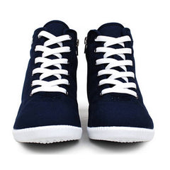 EpicStep Women's Casual Canvas Zip Lace up High Tops Hidden Wedge Heels Shoes Sneakers