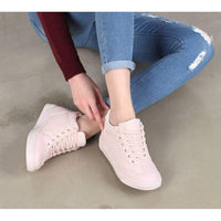 EpicStep Women's Casual Simple Comfy Cute Lace Up Mid Heels Wedges Fashion Sneakers Shoes