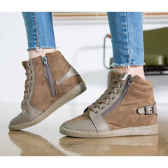 EpicStep Women's Casual Suede High Tops Zip Lace Up Hidden Wedges Fashion Sneakers Shoes