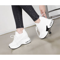 New Women Casual Comfy Platform High Heel Wedges Lace Up Sock Sneakers Shoes