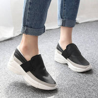 New Women Casual Perforated Mid Heels Thick Soles Slip On Fashion Sneakers Shoes