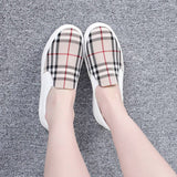 New Women Casual Checkered Mid Heels Thick Soles Platform Slip On Sneakers Shoes