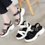 New Women Strappy Cushioned Platform Thick Sole Mid Heel Slinkback Sandals Shoes