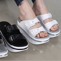 New Women Open Toe Cushioned Platform High Heel Buckle Slippers Sandals Slides