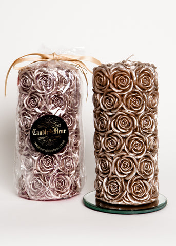 Large Rose Pillar Candle