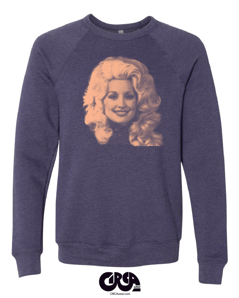 Dolly Parton sweatshirt Heather Navy Blue with Peach print