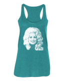 Dolly Parton Halftone Racerback Tank Top - Ladies