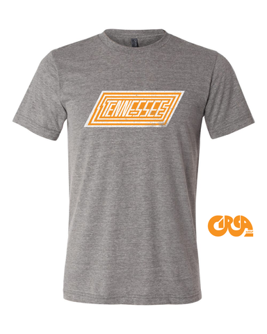 Tennessee state outline shirt, orange and white
