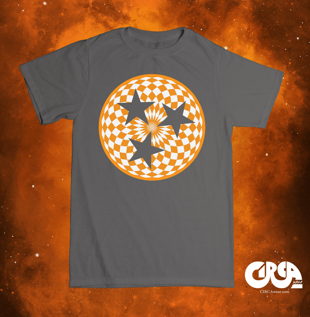 Tri Star / Tennessee Flag in Mandala Circle Orange and White