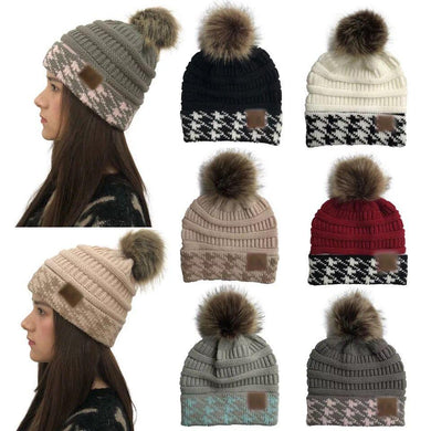 Wholesale Women CC Stripped Winter Warm Hat with Pom