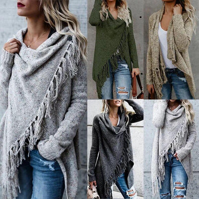 Wholesale Women's Tassel Hem Sweater Long Cardigan Open Front Knit Pullover Coat