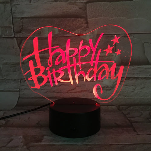 3D Happy Birthday Illusion Led Lamps