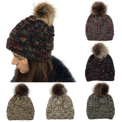 Wholesale Multi Color Women Woolen Yard Faux Fur Pom Pom Winter Beanie Outdoor Warm Hat