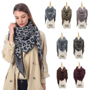 Wholesale Women's Cashmere Leopard Triangle Scarf Shawl - All Colors