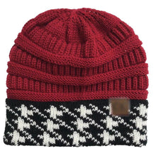 Load image into Gallery viewer, Wholesale CC Knit Beanie with Hound-Tooth Cuff