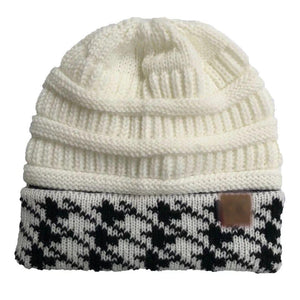 Wholesale CC Knit Beanie with Hound-Tooth Cuff