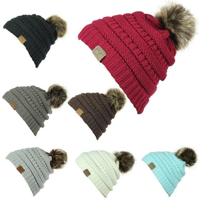 Wholesale CC Women Knitted Hat Winter Warm Comfortable Woolen Cap Beanie Hats