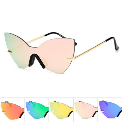 Solid One Piece Lens Cat Eye Wholesale Sunglasses - Mix Colors