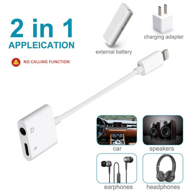 2 in 1 Aux Headphone Jack Audio & Charge Cable Adapter
