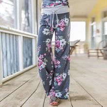 Load image into Gallery viewer, Women Casual Loose Boho Pants Floral Star Print American Flag High Elastic Waist Long Trousers Wide Leg Pants Fitness Sweatpants