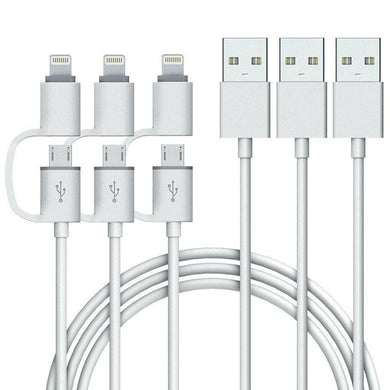 Quality 2-in-1 iPhone and Android Charging Cable, Durable USB Data Sync and Charging Cable