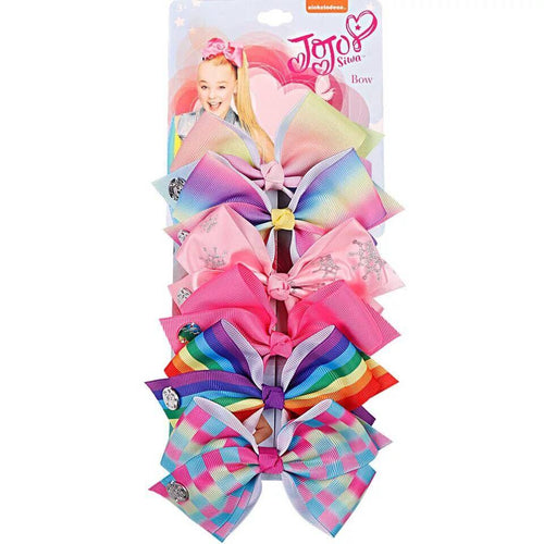 Colorful 6 Pieces Set Hair Bow Clip For Girls