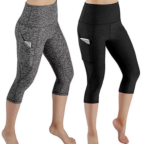 High Waist Cropped Capri Running Yoga with Side Phone Pocket Pants