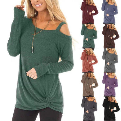 Wholesale Women's Cold Shoulder T-Shirt Long Sleeve Knot Twist Front Tunic Tops - All Colors