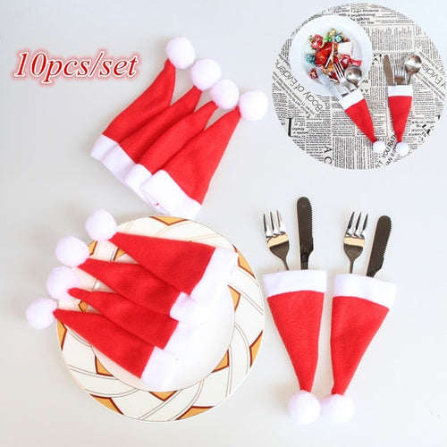 Best Sale 10PCS Christmas Hats Cutlery Holder Fork Spoon Pocket Christmas Decor Bags