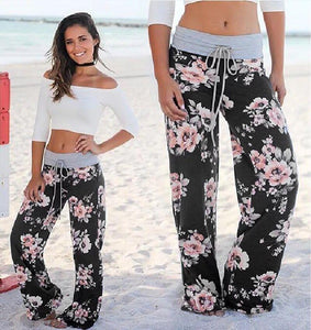 Women Casual Loose Boho Pants Floral Star Print American Flag High Elastic Waist Long Trousers Wide Leg Pants Fitness Sweatpants