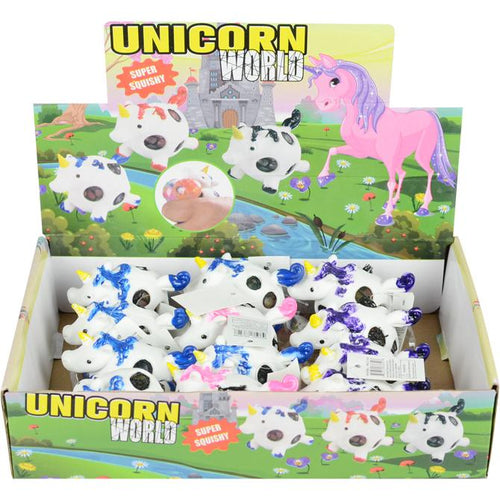 Wholesale Squeeze 4in Unicorn Mesh Ball with Gel Inside (12 pcs)