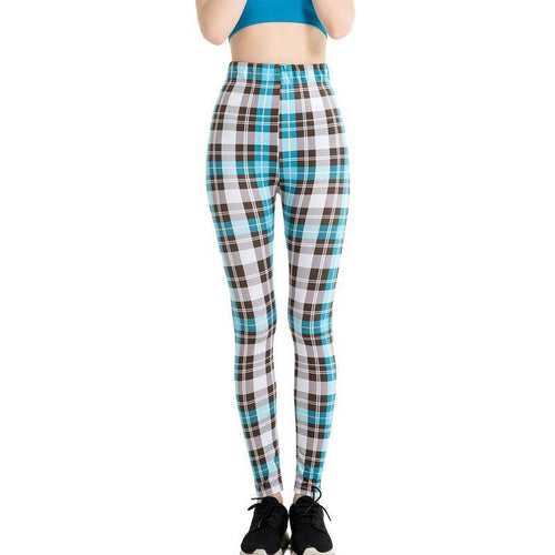 Blue Checked Stylish Leggings