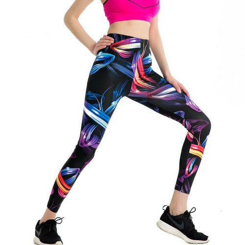Colorful Painting Stylish Leggings - Black