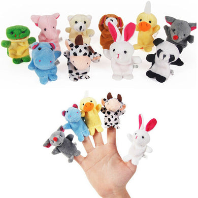 Bestseller 10PCS Cute Cartoon Biological Animal Finger Puppet Plush Toys